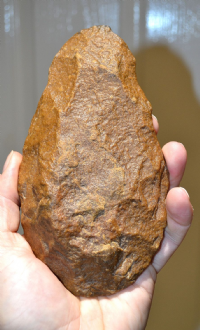 A very large, heavy and super quality Early Paleolithic Mid-Acheulian Handaxe from the Gorgol Region, Senegal River, Mauritania, Africa. SOLD
